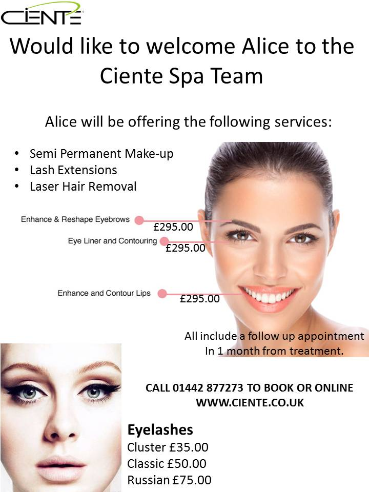 Cienté would like to welcome Alice to the Spa Team