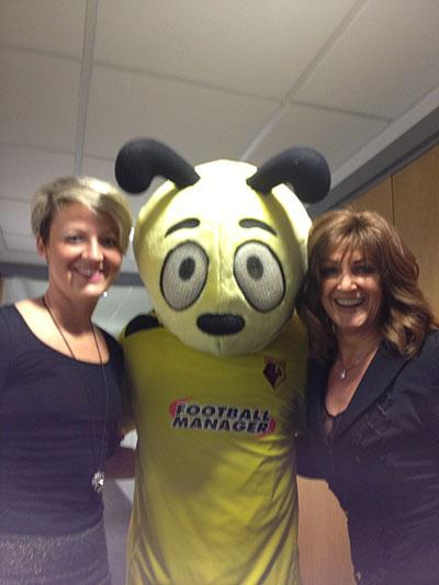 Hayley Welling and Trisha Buller at WFC Elton Suite with Harry the Hornet
